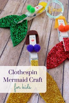 This clothespin mermaid craft is a really fun one for my little princess and mermaid lover! #artsandcraftsforkids