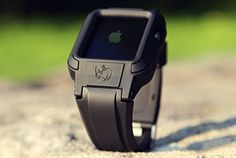 This Apple Watch Band will most definitely bump up an Apple Watch's size, but it will be a welcome bump in size because, ruggedized look. Stylish Watches, Luxury Watches, Cool Watches, Watches For Men, Unusual Watches, Men's Watches, Apple Watch Sizes, Apple Watch Series 2, Apple Watch Bands Mens