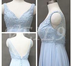 Sexy Deep Vneck Prom Dress shoulder belt bridesmaid dress by VEIL9, $119.00