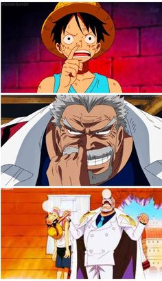 Luffy and Garp -One Piece