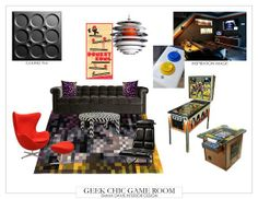 The Roman Circle ceiling tile is a perfect addition to this geek chic style game room design!