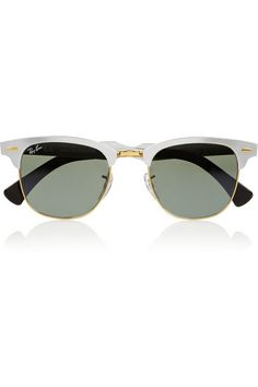 Clubmaster D-frame mirrored aluminum sunglasses