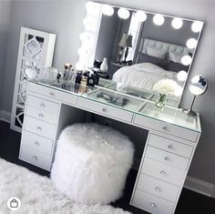 SlayStation® Pro Tabletop + Vanity Mirror + 5 Drawer Units Bundle - Impressions Vanity Co. - SlayStation® Pro Tabletop + Vanity Mirror + 5 Drawer Units Bundle – Impressions Vanity Co. Bedroom Vanity, Glam Room, Bedroom Design, Room Inspiration, Apartment Decor, Room Decor, Vanity Room, Room Inspo, Dream Rooms