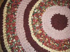 Burgundy and Pink Handmade Fabric Rug  for by Karenhugheskreations