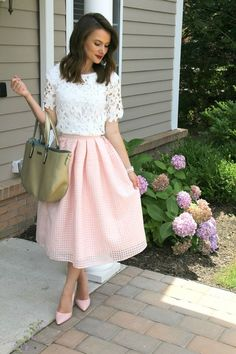 soft blush and white outfit