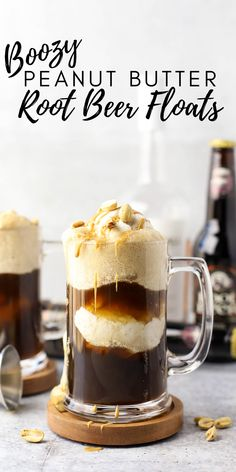 Boozy Peanut Butter Root Beer Floats, adult root beer float, boozy root beer cocktail, whiskey recipe, peanut butter whiskey recipe, skrewball whiskey recipe, how to make a root beer float, peanut butter dessert, Easy Drink Recipes, Sangria Recipes, Drinks Alcohol Recipes, Yummy Drinks, Dessert Recipes, Alcoholic Desserts, Cocktail Recipes, Whiskey Recipes, Beer Recipes