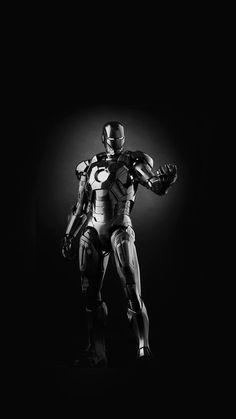 Ironman Dark Figure Hero Art Avengers Bw iPhone 6 wallpaper