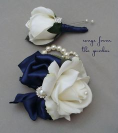 White Navy Rose Wedding Boutonniere & Wedding Corsage with Rhinestone Pearl Accents Navy Ribbon Mother of the Bride Prom Corsage