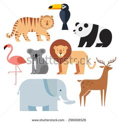 Icons set of vector animals isolated on white background. Vector illustration of cute animal set including panda, lion, deer, tiger, flamingo, koala, elephant and toucan. - stock vector