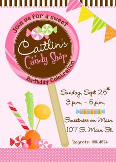Lollipop candy themed Birthday Party Invitation