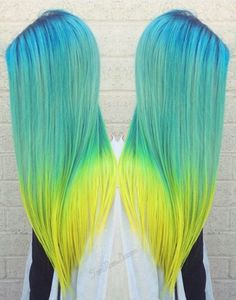 green turquoise blue dyed ombre hair color @arcticfoxhaircolor