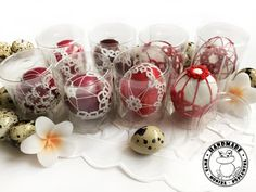 SHADES OF RED and white Easter eggs on real eggshells Easter | Etsy Handmade Ornaments, Handmade Toys, Etsy Handmade, Easter Toys, Easter Table Decorations, Lace Decor, Shades Of Red, Easter Baskets, Red And White