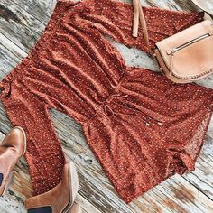 Your festival go to  II Check out our Two To Tango Playsuit    SHOP NEW ARRIVALS --> www.muraboutique.com.au   #muraboutique #murastyle #flatlay #playsuit #boho #rust #boots #bag #tan #boho #festival #coachella #summer #accessories #fashion