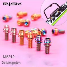 2Pcs M5 x 12mm Bicycle Water Bottle holder fixing Titanium Alloy Screw Cone Bike Water Bottle Cage Bolts With Gaskets