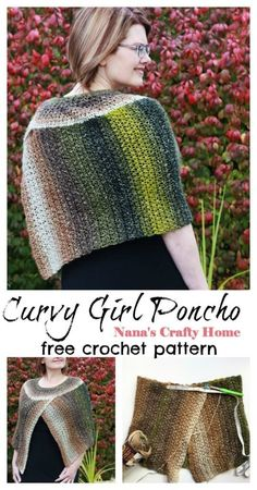 The Curvy Girl Cape is a free crochet pattern for an easy, beginner friendly pattern.  Featuring an easy stitch repeat and construction.  Made from a rectangle which is folded together and yoke crocheted along the top edge.  Such a lovely addition to any outfit!  #nanascraftyhome Crochet Cape, Crochet Shawl, Free Crochet, Knit Crochet, Crochet Poncho Patterns, Shawl Patterns, Crochet Sweaters, Crochet Clothes, Shawl In A Ball