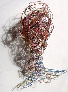telephone wire art wire bust,portrait from upcycled telephone wire...alexander calder style contemporary abstract surreal wirework sculpture