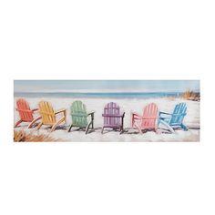 Colorful Beach Chairs Canvas Art Print