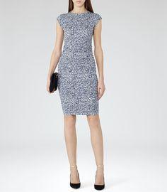 Womens Blue Abstract Print Dress - Reiss Jo