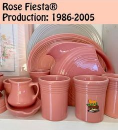 Rose Fiestaware, dates of production and shapes. Pink Tea Cups, White Tea Cups, Old Fashioned Drink, Pink Toms, Cappuccino Mugs, Mini Roses, Tea Pot Set, Homer Laughlin, Tea Cup Saucer