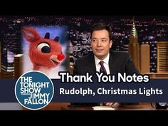"Well, there go your holiday memories. Jimmy Fallon's ""Thank You Notes"" just revealed the truth behind some of your favorite holiday traditions, and. Christmas Hanukkah, Christmas Lights, Rudolph Christmas, Jimmy Fallon Youtube, Shaquille O'neal, Tonight Show, Holiday Traditions, Thank You Notes, Hugh Jackman"