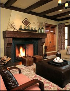 LOVE the fireplace mantle! - Tallwood Ct - Atherton - rustic - family room - san francisco - Gary J Ahern, AIA - Focal Point Design Rustic Fireplace Mantle, Rustic Fireplaces, Home Fireplace, Fireplace Design, Fireplace Ideas, Candle Fireplace, Corner Fireplaces, Stucco Fireplace, Mounted Fireplace