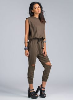 This isn't a dream, ladies. This chic jumpsuit is comfy enough to wear downtown during the day and straight to bed at night. #HellYeah.