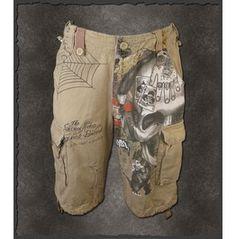 """Shiro Neko """"Dead Mans Hand"""" Tattoo Rockabilly Shorts"""