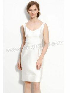 V-neck Sleeveless Knee-length Satin White Dress