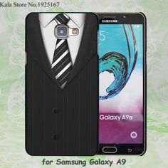 Suit Tie Dark Background Pattern hard black Case Cover for Samsung Galaxy A7 A710 A8 A9 A5 A510 A3 A310