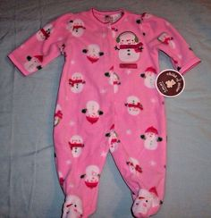 Child of mine Carter's 0-3 month one piece My first Christmas Fleece sleeper NWT #ChildofMinebyCarters #OnePiece