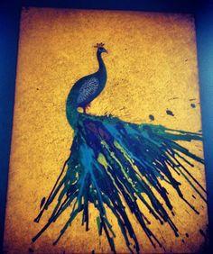 crayon melting art peacock - Google Search