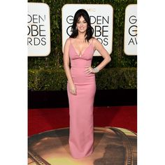 Katy Perry Pink Plunging Spaghetti Strap Sexy Prom Dress Golden Globe Awards 2016