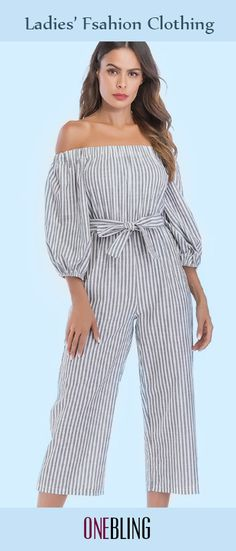 793f31f037a Ballon Sleeve Off Shoulder Cropped Jumpsuits In Stripe with Belt