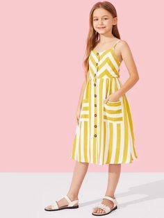 Girls Button Up Patch Pocket Detail Striped Cami Dress - Babykleidung Frocks For Girls, Kids Outfits Girls, Girls Fashion Clothes, Little Girl Dresses, Girl Outfits, Girls Dresses, Kids Fashion, Kids Summer Dresses, Slip Dresses