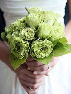 pretty green bouquet; anyone know what flowers these are?