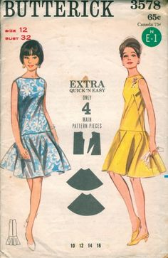 Butterick 3578 Misses Drop Waist Dress with Circle Skirt Bateau Neckline Vintage Sewing Pattern Bust 32 Vintage Sewing Patterns, Clothing Patterns, Dress Patterns, 1960s Fashion, Vintage Fashion, Vintage Dresses, Vintage Outfits, Patron Vintage, Magazine Mode