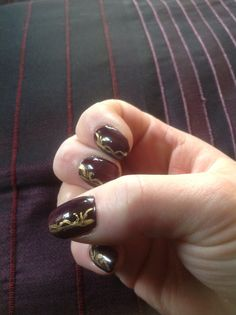 Dark red with gold