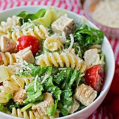 Natalie @ Life Made Simple (@lmadesimple) | One of my favorite summer dishes- Chicken Caesar Pasta Salad! Easy to make, crisp, crunchy and downright delicious  #caesarsalad #summereats #salad #pastasalad #tomatoes #chicken #pasta #homemadedressing #fresh #dinner | Intagme - The Best Instagram Widget