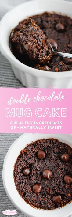 This vegan double chocolate mug cake is soft, gooey, and full of rich chocolate flavor! It's made with 6 healthy ingredients, gluten free, and naturally sweet. #veganmugcake #veganchocolatemugcake #mugcake #chocolate #doublechocolatemugcake #dessert #vegandessert #healthydessert #glutenfreemugcake Gluten Free Mug Cake, Vegan Mug Cakes, Vegan Cake, Vegan Desserts, Easy Desserts, Vegan Recipes, Vegan Ideas, Vegan Sweets, Free Recipes