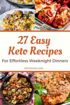 27 Easy Keto Recipes For Effortless Weeknight Dinners - Are you looking for an awesome resource of easy Keto recipes that are perfect for beginners? Look - Low Carb Meal Plan, Low Carb Dinner Recipes, Low Carb Diet, Chicken And Beef Recipe, Slow Cooker Chicken, Snacks To Make, Food To Make, Weeknight Meals, Easy Meals