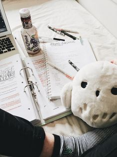"ittybittystudyblr: ""studying on my bed ft. cute little hedwig my boyfriend bought me. College Notes, School Notes, Study Areas, Study Space, School Motivation, Study Motivation, Study Pictures, Study Organization, Cute Notes"