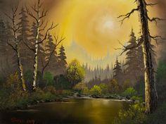 bob ross hazy sunset paintings