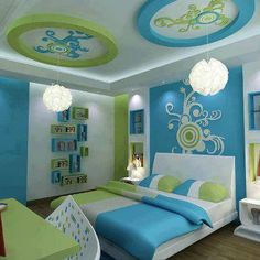 Light, bright, artistic design for a #teens #bedroom. The colours really pop!