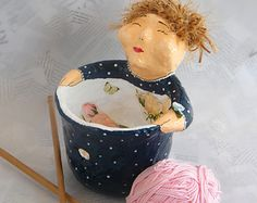 Yarn Bowl – Whimsical Knitting Bowl / Woman Crochet yarn Storage / Wool Organizer / Blue polka dots / Craft Supply / Spring Celebrations