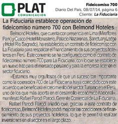 La Fiduciaria: Anuncio de la operación 700 en el diario Del País de Perú (08/07/14)