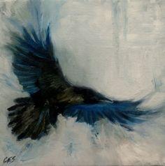 Original OIL PAINTING by CES- Wildlife Raven Abstract Bird Dark Blue EBSQ Art #MyStyle
