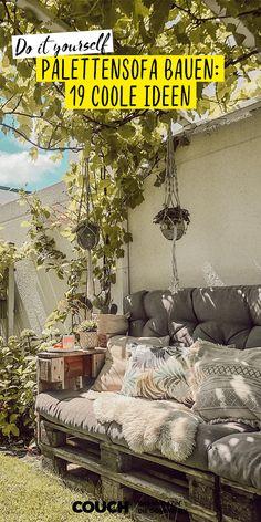 Brauchst du noch Inspiration für neue DIY Gartenmöbel, die so schön sind wie das Palettensofa im Garten von fraeulein_tl? Hier gibt es coole Ideen für Palettensofas und -möbel! #garten #diy #ideen #doityourself #palettensofa #palettenmöbel #paletten #sommer #COUCHstyle Marimekko, Lounge, Couch, Interior, Inspiration, Outdoor, Hair, Daughters Room, Pallet Designs