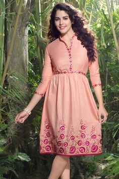 Orange Linen Embroidered Kurti