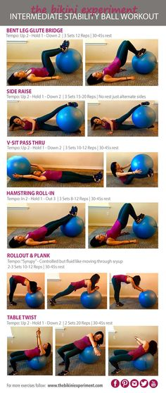 Ready to take on a new challenge? Taking it to the next level with an Intermediate Stability Ball Workout. Grab your ball and get ready to GO!