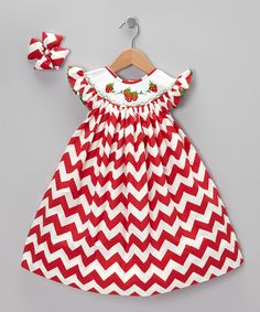 Red Chevron Strawberry Dress & Bow Clip - Infant, Toddler & Girls | Daily deals for moms, babies and kids